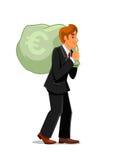 Sac de transport d'argent d'homme d'affaires avec l'euro signe illustration libre de droits