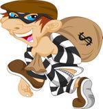 Sac de transport de voleur d'argent avec un symbole dollar Images libres de droits