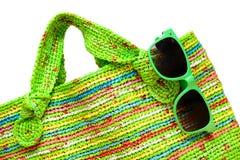 Sac de tricotage coloré de femme de mode Photographie stock