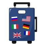 Sac de valise avec l'icône plate de drapeaux sur le blanc Photo libre de droits