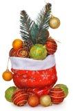 Sac du cadeau de Santa complètement des jouets avec la branche d'arbre de Noël Image stock
