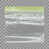 Sac en plastique vide transparent de poche avec le zip-lock Photographie stock libre de droits