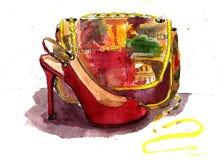 Sac et chaussures d'aquarelle Photos libres de droits