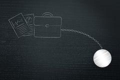 Sac et documents d'affaires avec la boule et la chaîne illustration de vecteur