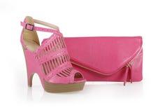 Sac fuchsia de chaussure et d'embrayage photo libre de droits