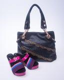 sac les femmes mettent en sac et façonnent la chaussure sur un fond Photo stock