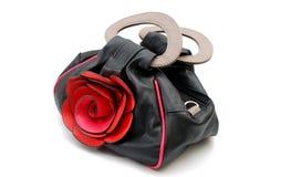 Sac à main de femmes avec la fleur rose Photos stock