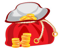 Sac with money. Red bag with golden coin on white background Royalty Free Stock Photos