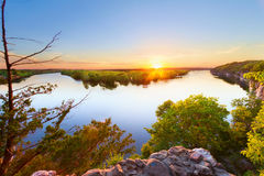 Sac Osage River. Sunset from where the Sac River and the Osage River comes together at Truman Lake in the Ozarks of Missouri. This is at Osceola, Missouri royalty free stock image