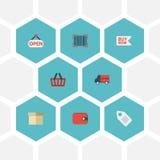 Sac plat d'icônes, acheter maintenant, signe et d'autres éléments de vecteur L'ensemble de symboles plats de achat d'icônes inclu Photo libre de droits