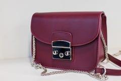 Sac pourpre du ` s de dame Amour aux achats Satisfaction d'acheter de nouveaux accessoires à la mode petit sac en cuir élégant Image stock