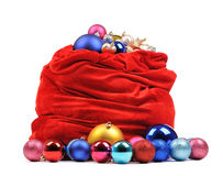 Sac rouge du père noël avec des jouets de Noël Image libre de droits