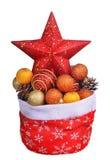 Sac rouge du père noël avec des jouets de Noël Photographie stock libre de droits