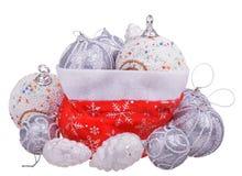Sac rouge du père noël avec des jouets de Noël Images libres de droits