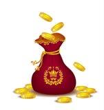 Sac royal avec des pièces d'or Photos libres de droits