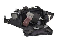 Sac tactique de ville pour les armes de transport cachées avec un insi d'arme à feu Image libre de droits