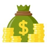 Sac vert d'icône plate d'argent et de pièces de monnaie illustration stock