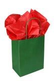 Sac vert de cadeau Photo libre de droits