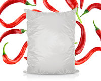 Sac vide blanc de nourriture d'aluminium Photographie stock libre de droits