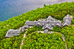 Sacacomie hotel lake in quebec canada Stock Photo