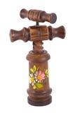 Sacacorchos de madera en blanco imagen de archivo