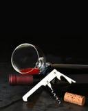 Sacacorchos del cristal de botellas de vino en pizarra Fotos de archivo libres de regalías