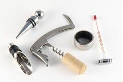 Sacacorchos y accesorios para el vino Foto de archivo libre de regalías