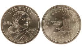 Sacajawea Golden Dollar coin. On white background Stock Photos