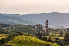Saccargia -科德龙贾诺斯,撒丁岛,意大利三位一体的大教堂  免版税库存照片