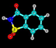 Saccharin molecular structure on black background Stock Photography