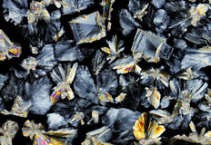 Saccharose crystals in polarized light Royalty Free Stock Photography
