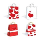 Sacchetti della spesa adorabili del cuore Fotografie Stock Libere da Diritti
