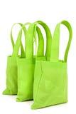 Sacchetti della spesa al neon verde intenso del panno Fotografia Stock Libera da Diritti
