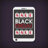 Sacchetti della spesa Black Friday di Smartphone Fotografia Stock