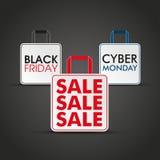 Sacchetti della spesa Black Friday lunedì cyber Immagini Stock