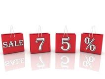Sacchetti della spesa con la vendita del messaggio e 75 per cento Fotografia Stock Libera da Diritti