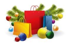 Sacchetti della spesa di Natale su bianco Vettore Fotografie Stock Libere da Diritti