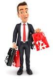 sacchetti della spesa di trasporto dell'uomo d'affari 3d illustrazione vettoriale