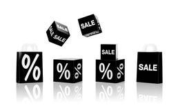 Sacchetti della spesa e segni di vendita con le percentuali Immagine Stock Libera da Diritti