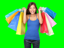 Sacchetti di acquisto della holding della donna del cliente Immagini Stock Libere da Diritti