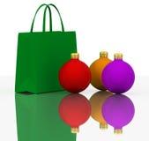 Sacchetti di acquisto delle sfere e di colori di natale illustrazione di stock