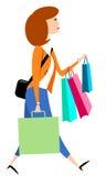 Sacchetti di acquisto di trasporto della donna illustrazione di stock