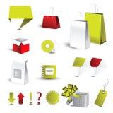 Sacchetti e caselle di verde e di colore rosso Fotografia Stock Libera da Diritti