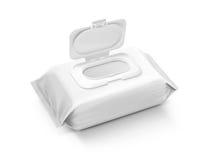 Sacchetto bagnato d'imballaggio in bianco delle strofinate isolato su fondo grigio Fotografia Stock Libera da Diritti