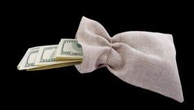 Sacchetto con i dollari. Fotografia Stock Libera da Diritti