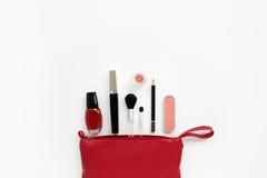 Sacchetto cosmetico rosso Fotografie Stock