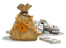 Sacchetto dei soldi con i pacchetti della serratura e del dollaro dell'oro Fotografia Stock