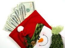 Sacchetto dei soldi del pupazzo di neve Fotografie Stock Libere da Diritti