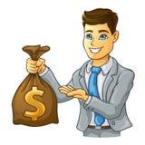 Sacchetto dei soldi della holding dell'uomo di affari Immagini Stock Libere da Diritti