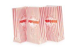 Sacchetto del popcorn isolato sul bianco fotografia stock libera da diritti